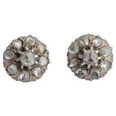 Antique rose cut diamonds stud earrings circa 1880 yellow gold 14 karat silver