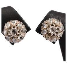 Victorian rose cut diamond stud earrings
