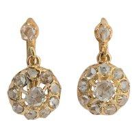 Victorian rose cut diamonds drop earrings 18 k yellow gold circa 1880