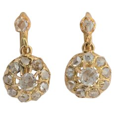 Victorian rose cut diamonds drop earrings 18 k yellow gold circa 1880