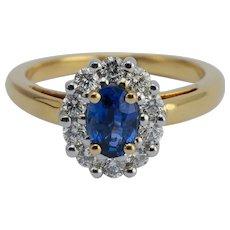 Vintage Sapphire Diamond Lady D ring 18 k gold circa 1970