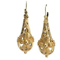Victorian long drop earrings  18 k yellow gold circa 1880