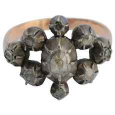 Antique Georgian rose cut diamonds cluster ring circa 1800 pinkish gold 18 k and silver