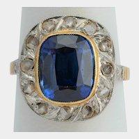 Antique rose cut diamonds synthetic Sapphire ring circa 1910