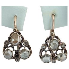 Antique Early Victorian rose cut diamonds earrings circa 1830