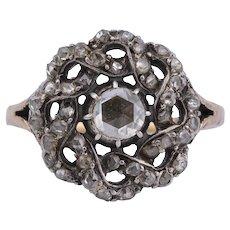Antique Georgian rose cut diamond ring 14 k gold silver circa 1820