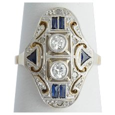 Art Deco ring diamonds Lab made blue Sapphire gold circa 1930