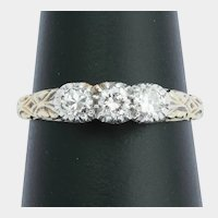 Vintage 0.50cwt diamonds three stones ring gold circa 1980