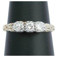 Vintage 0.50cwt diamonds three stones ring 14k gold circa 1980