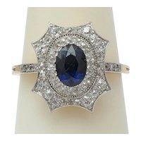 Antique Diamond Sapphire ring 18 k yellow gold Platinum circa 1910