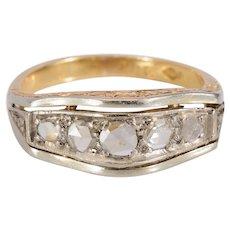 Antique five stone ring rose cut diamonds 18 karat circa 1915