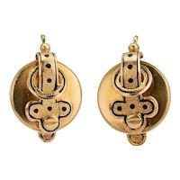 Antique Victorian Drop Earrings 19 karat yellow gold black enamel circa 1865