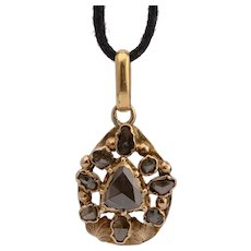 Antique Georgian pendant rose cut diamonds 14 k yellow gold circa 1820