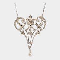 Art Nouveau / Belle Epoque diamond necklace Platinum and gold circa 1900