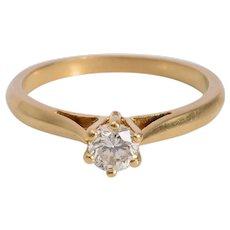 Vintage 0.27 carat Diamond engagement ring 18 k yellow gold circa 1960