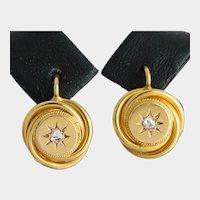 Antique Victorian / Napoleon III drop earrings 18 k yellow gold circa 1880 s