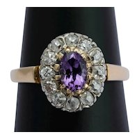 Antique Victorian diamond Amethyst cluster ring 14 k yellow gold silver circa 1890