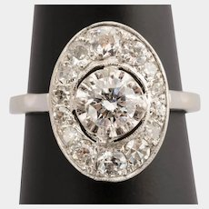 Art Deco 1.05 cwt Diamonds ring Platinum 18 k White Gold circa 1920