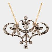 Art Nouveau necklace rose cut diamonds silver and gold