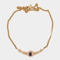 Vintage 3.30 cwt Diamond and Sapphire necklace 18 k yellow gold circa 1980