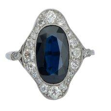 Edwardian Sapphire Diamonds Platinum ring circa 1910