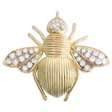 Vintage 0.85 cwt Diamonds Bee pendant 18 k yellow gold circa 1990