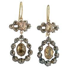 Drop earrings rose cut diamonds citrine silver 18 k yellow gold circa 1820