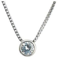 Vintage Round Brilliant 0.65 carat Diamond  Sliding Pendant 18 k white gold