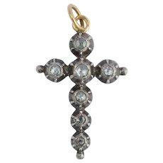 Georgian Rose cut Diamond Cross pendant