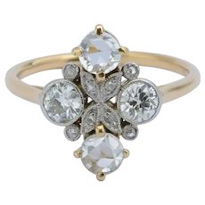 Antique Edwardian 0.80 cwt diamonds ring 18 k yellow gold platinum circa 1910