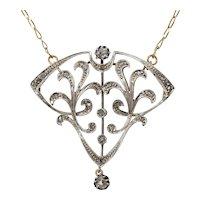 Antique Art Nouveau circa 1900 diamond necklace platinum 18 k yellow gold