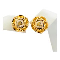 Antique Fancy Yellow Old Mine Cut diamond earrings 1.70 cwt yellow gold 18k circa 1880