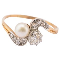 10.75 US large size Ring 1.00 cwt  Diamonds  and Pearl Art Nouveau  circa 1900