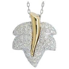 1.20cwt Diamond Autumn Leaf Pendant 18 k white and yellow gold circa 1990