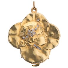 Art Nouveau Diamond Pendant Locket  18 k yellow gold