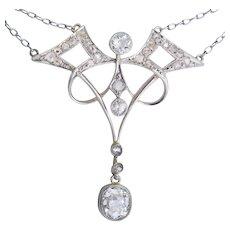 Art Nouveau diamond necklace Platinum circa 1900