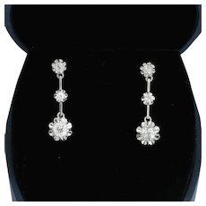 Elegant 1.30cwt Diamond drop earrings  Color F  Clarity VS  18 k white gold circa 1920s