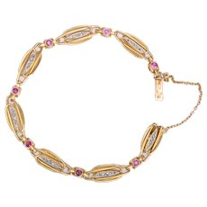 French Art Nouveau bracelet 0.90 cwt Rubies Rose Cut Diamonds  18 k yellow gold circa 1900