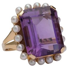 Impressive 21 carat Amethyst pearl ring 18 k yellow gold Vintage Late 20th Century