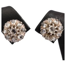 Antique rose cut diamonds stud earrings yellow gold silver circa 1880