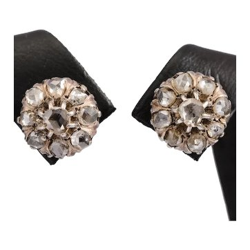 Antique rose cut diamonds stud earrings yellow gold silver circa 1880