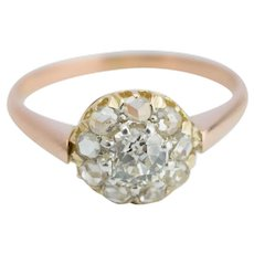 Antique Victorian diamond ring 14 k yellow and reddish gold circa 1880