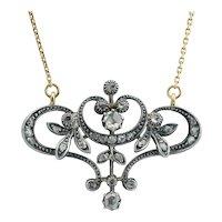 Art Nouveau diamonds necklace silver gold circa 1890