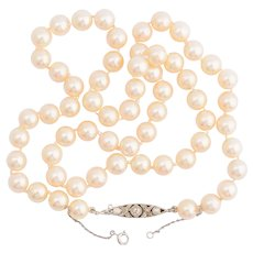 Platinum diamond clasp Akoya cultured pearl necklace circa 1920