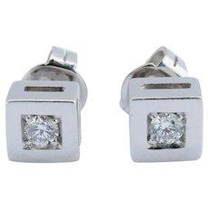 Vintage 0.30 cwt diamond stud earrings 18 k white gold circa 1980