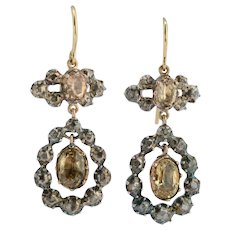 Georgian Drop earrings Diamonds Citrine 18 k yellow gold silver circa 1820