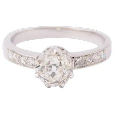 Engagement ring 1.44 cwt Diamond 18 k white gold