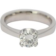 Diamond engagement ring 0.97 ct F Color 18 k white gold