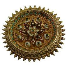 Antique Etruscan revival enamel brooch 18 karat gold Victorian circa 1870