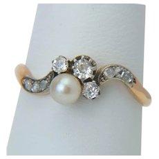 Art Nouveau diamond pearl ring 18 karat reddish gold silver top antique engagement ring circa 1890 s